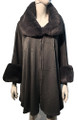 New! Elegant Women's - Faux Fur  Poncho  Cape Dark Gray # P244-3