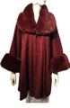 New! Elegant Women's - Faux Fur  Poncho  Cape Burgundy # P244-4