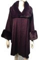 New! Elegant Women's - Faux Fur  Poncho  Cape Purple # P244-5