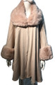 New! Elegant Women's - Faux Fur  Poncho  Cape Pink # P244-6