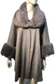New! Elegant Women's - Faux Fur  Poncho  Cape Light Gray # P244-7