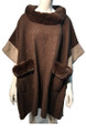 New! Elegant Women's - Faux Fur  Poncho  Cape Coffee/Taupe # P248-4