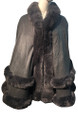New! Elegant Women's - Faux Fur  Poncho  Cape Dark Gray # P249-2