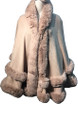 New! Elegant Women's - Faux Fur  Poncho  Cape Pink # P249-4