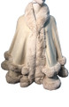 New! Elegant Women's - Faux Fur  Poncho  Cape Beige # P249-5