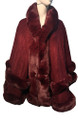 New! Elegant Women's - Faux Fur  Poncho  Cape Burgundy # P249-6