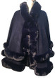 New! Elegant Women's - Faux Fur  Poncho  Cape Navy # P249-8