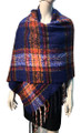 New !   Fashion Long Soft Plaid warm Shawl Scarf  Royal Blue # 986-6