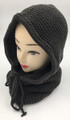 New! Soft Knit Pullover Hood Infinity Scarf Dark Gray # 1568