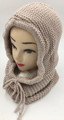 New! Soft Knit Pullover Hood Infinity Scarf Beige # 1568