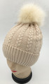 New! Cable Knit Beanie with Faux Fur Pom Beige #H1282-2