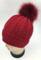New! Cable Knit Beanie with Faux Fur Pom Burgundy #H1282-3