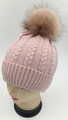 New! Cable Knit Beanie with Faux Fur Pom Pink #H1282-4