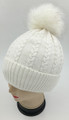 New! Cable Knit Beanie with Faux Fur Pom Ivory #H1282-5
