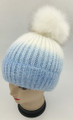 New! Ombre Beanie with Faux Fur Pom White #H1281-1
