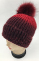 New! Ombre Beanie with Faux Fur Pom Burgundy #H1281-2
