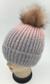 New! Ombre Beanie with Faux Fur Pom Pink #H1281-4