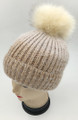 New! Ombre Beanie with Faux Fur Pom Beige #H1281-5
