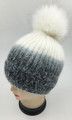 New! Ombre Beanie with Faux Fur Pom Black #H1281-6