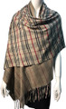 New !   Fashion Long Soft Plaid Warm Shawl Scarf Khaki # 997-1