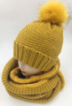 New! Knit Cable Beanie with Faux Fur Pom Infinity Scarf Sets Mustard #HS1227