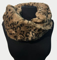 New! Cozy and Warm Leopard Faux Fur Cowl Neck Infinity Scarf Taupe #S602-3