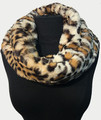 New! Cozy and Warm Leopard Faux Fur Cowl Neck Infinity Scarf White #S605-2