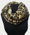 New! Cozy and Warm Cheetah Faux Fur Cowl Neck Infinity Scarf Beige #S605-3