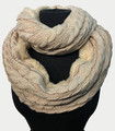 New! Knit Warm Cable Design With Faux Fur Lining Infinity Scarf Beige #S1226-4