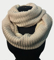 New! Knit Warm Cable Design With Faux Fur Lining Infinity Scarf Beige #S1227-5