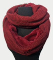 New! Knit Warm Cable Design With Faux Fur Lining Infinity Scarf Burgundy #S1254-1