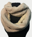 New! Knit Warm Cable Design With Faux Fur Lining Infinity Scarf Beige #S1254-5