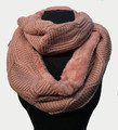 New! Knit Warm Cable Design With Faux Fur Lining Infinity Scarf Pink #S1254-6