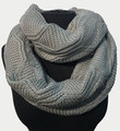 New! Knit Warm Cable Design With Faux Fur Lining Infinity Scarf Light Gray #S1254-7
