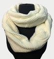 New! Knit Warm Cable Design With Faux Fur Lining Infinity Scarf Ivory #S1254-7