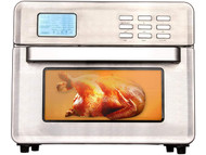 EUROTO Stainless Steel Large Capacity 26.4qt Air Fryer Oven, 24 in 1 Multi-function 360 Air Circulation Toaster Oven LCD digital Display Glass Window 4 Layer Shelves Included Oven Gloves & Apron