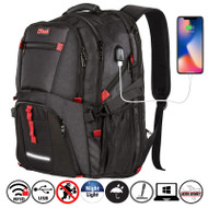 """OPACK 17"""" Laptop Extra Large Backpack, RFID Anti Fraud, TSA Friendly Durable Travel Backpack with USB Charging Port/Headphones Hole, Water-Resistant"""