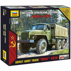 ZVEZDA 7417 Soviet Army Truck Ural Hot War 1:100 Snap Fit Model Kit