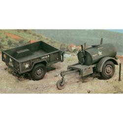 ITALERI 250gal. S Tank Trailer and M101 Car 229 1:35 Military Vehicle Model Kit