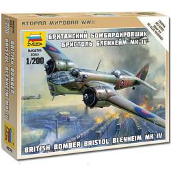 ZVEZDA 6230 Bristol Blenheim MkIV WWII Bomber 1:200 Snap Fit Aircraft Model Kit