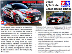 TAMIYA 24337 Gazoo Racing Toyota TRD 86 1:24 Car Model Kit