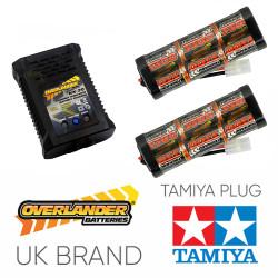 Overlander 3300mah 7.2v Battery x2 & NX-20 2A NiMH Charger - RC Car Tamiya