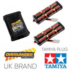 Overlander 2000mah 7.2v Battery x2 & NX-20 2A NiMH Charger - RC Car Tamiya