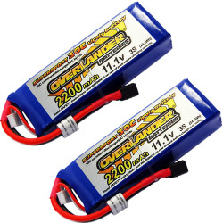 Overlander 2x LiPo Battery 2200mAh 3S 11.1v 30C Deans RC Flight Pack