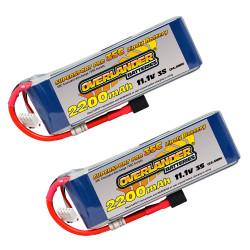 Overlander 2x LiPo Battery 2200mAh 3S 11.1v 35C Deans RC Flight Pack