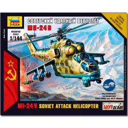 ZVEZDA 7403 MIL-24V Soviet Attack Helicopter Snap Fit Model Kit 1:144 Hotwar