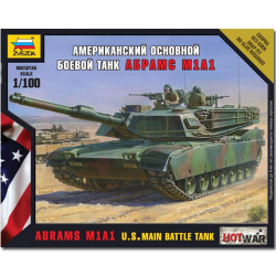 ZVEZDA 7405 Abrams M1A1 US Main Battle Tank Snap Fit Model Kit 1:100 Hotwar