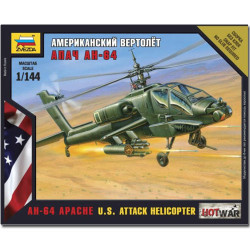 ZVEZDA 7408 AH-64 Apache Helicopter Snap Fit Model Kit 1:144 Hotwar