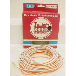 LGB Orange/White 2-wire Cable 20m - G Gauge 50130