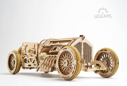 UGEARS U-9 Grand Prix Car - Mechanical Wooden Model Kit 70044